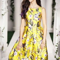 Yellow Floral Print Sleeveless High-Waisted Pleated Midi Dress