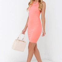 Swanky Rankings Coral Bodycon Dress