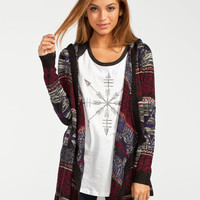 Full Tilt Marled Boho Womens Hooded Wrap Sweater Multi  In Sizes