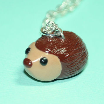 Kawaii Hedgehog Miniature Forest Animal Necklace Woodland Polymer Clay Jewelry