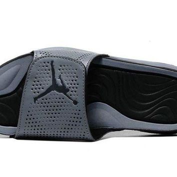 ONETOW Jacklish Nike Jordan Hydro 5 Grey Black Slide Sandals Sale