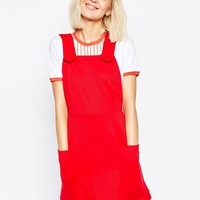 ASOS Ponte Pinafore Dress with Stitch Detail