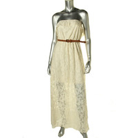 Trixxi Womens Lace Strapless Maxi Dress