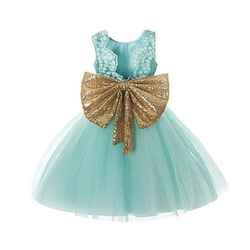 Summer Girl Party dress Toddlers Lace Flower Wedding Prom Gown Children Formal Wear Kids Clothes Tutu Baby 1 Year Birthday Dress