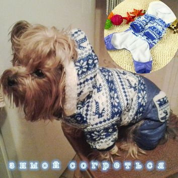 Siberia Winter Warm Waterproof Dog Clothes Snowflake pet dog costume Chihuahua Yorkshire dog Coat pet clothes jacket Hoodie