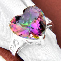 6PCS/LOT Holiday Jewelry Gift Lovely Heart Colored Mystic Topaz Gemstone 925 Sterling Silver Plated Ring R0563