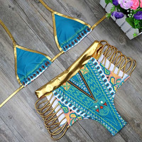 HOT! 2017 African Print Shiny Gold/ Powder Blue 2Piece Swimsuit