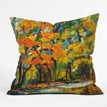 Ginette Fine Art Autumn Woods Outdoor Throw Pillow