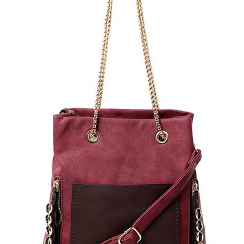 Burgundy Handbag with Chunky Chain Strap