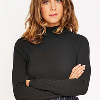 Urban Outfitters Ribbed Solid Roll Neck Top - Urban Outfitters