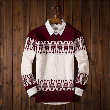 Men's Ethnic Fair Isle Comfortable Slim Sweater