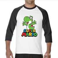 Super Mario party nes switch Funny Hip Hop Printed Funny Swag  Bros Yoshi funny Long TShirts raglan sleeve T Shirt men AT_80_8