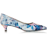MSGM - Floral-print satin-twill pumps