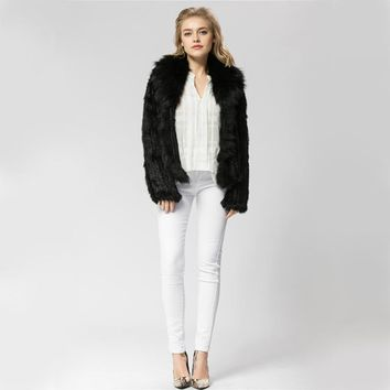 CR072-4 Knitted real rabbit fur coat overcoat jacket with fox fur collar  Russian women's winter thick warm genuine fur coat