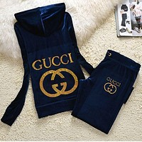 Gucci Trending Women Pleuche Velvet Personality Sweater Pants Sweatpants Set Two-Piece Navy Blue I/A