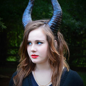 Maleficent inspired black bull sheep horns headband