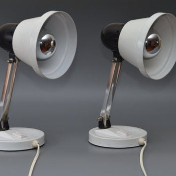 Pair / set of two vintage bedside / table lamps, space age 70s
