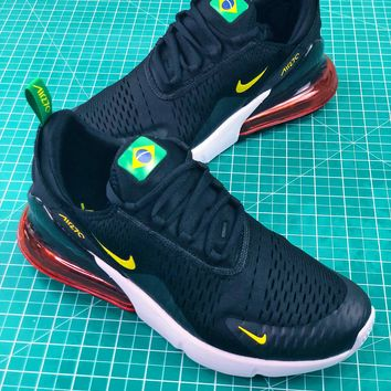 Nike Air Max 270 Fifa World Cup 2018 For Brazil In Black Yellow Sport Running Shoes - Best Online Sale