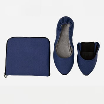 Navy GoGo Flats with Pouch