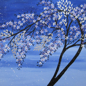 large Japanese style tree painting on canvas, peach / apricot blossom with  blue, and black branches- art,  canvas