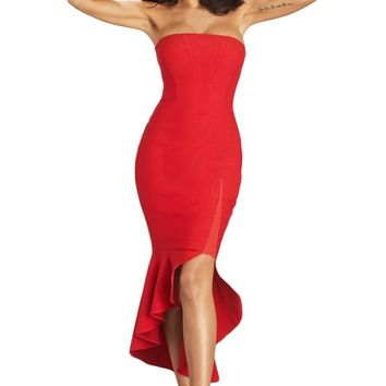Red Asymmetric Ruffle Hem Strapless Party Dress