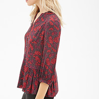 LOVE 21 Abstract Print Peasant Blouse Brown/Red