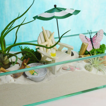 "The Perfect Beach ~ 12"" Glass Rectangle Planter ~ Beach Chair and Umbrella ~ Beer or Wine ~ Air plants ~ Beach Decor ~ Gift Idea"