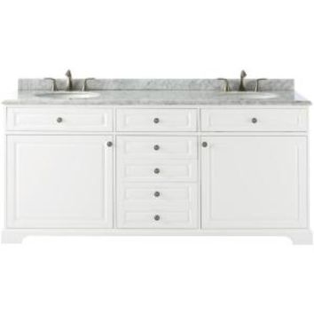 Home Decorators Collection Highclere 72 in. W x 22 in. D Vanity in White with Carrera Marble Vanity Top in White with White Basin 9554300410 at The Home Depot - Mobile