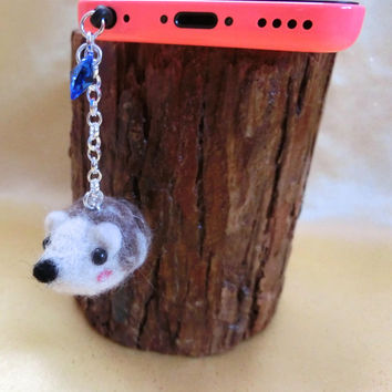Cell iPhone Accessory iPod Accessory Cell Phone Dust Plug Charm Needle Felt Wool Porcupine Headphone Jack Miniature Animal Charm