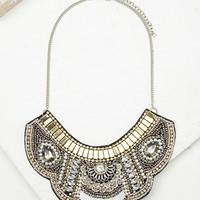 Beaded Faux Gem Bib Necklace