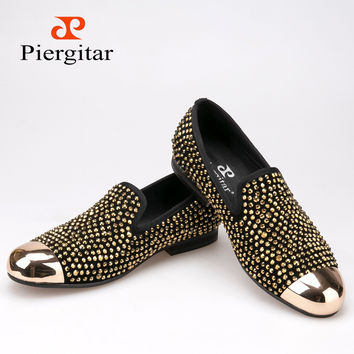 New gold toe and gold crystal men loafers men fashion leather slippers men party wedding dress shoes men's flats