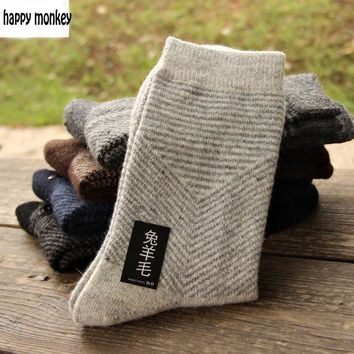 10 pieces of 5pairs 2017 NEW winter warm socks man The rabbit wool socks Men socks to Arrow pure color the extended wool socks