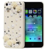 "Fosmon GEM 3D Rose, Pearl & Crystals Hard ""Bling"" Design Case for the Apple iPhone 5C (2013) Retail Packaging - Ivory"