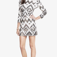 Aztec Sequin Embellished Mini Dress from EXPRESS