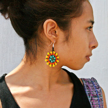 Native American Peyote Flower Sun Earrings Huichol Jewelry Beadwork Beaded Earrings for Good Luck Health Success Mexican Earrings Handmade