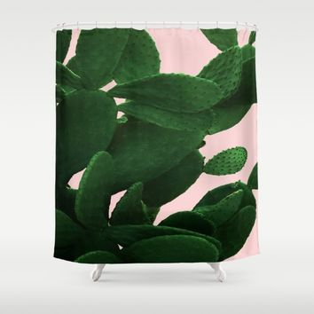 Cactus On Pink Shower Curtain by ARTbyJWP