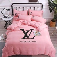 Pink LV Home Blanket Quilt coverlet 2 Pillows Shams 4 PC Bedding Set