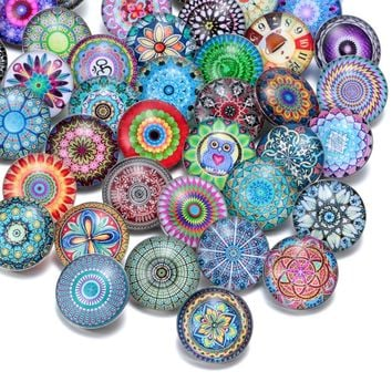 50pcs/lot Mixed Beautiful Exotic Pattern & Styles Charms 18mm Glass Snap Button For DIY Bracelet Snaps Jewelry KZHM013