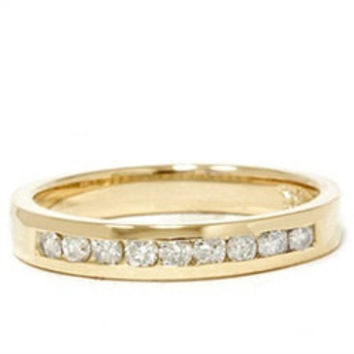 1/4CT Diamond Wedding Ring 14K Yellow Gold Channel Set Size 4-9