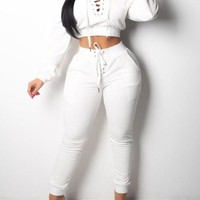 New White Lace-up Pockets Off Shoulder Drawstring High Waisted Two Piece Casual Long Jumpsuit