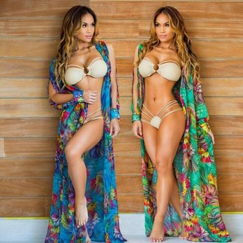Chiffon Floral Print Women Long Bathing Suit Cover Ups