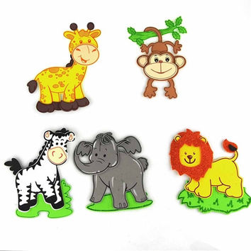 Baby Shower Foam Decoration, 5 Pairs, Assorted Safari Animals - Large