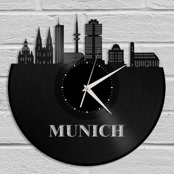 Munich Clock, Germany Gift, Personalized Gift for Best Friend, Munich, Germany, Home Decor, Wall Art, Repurposed Vinyl Record Clock