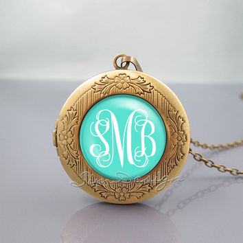 Monogram Photo Locket Necklace,vintage Green pendant Necklace - ALL Colors Can be changed! [ Font style, Font color, Background color ... ]