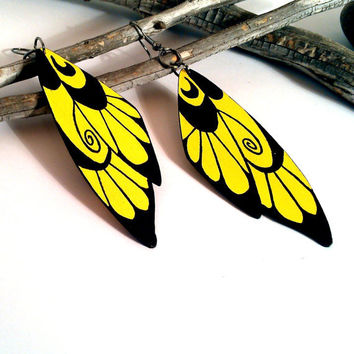 Wing earrings painted wood yellow and black wood jewelry