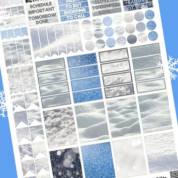 snow planner stickers printable winter snowing work home decal clip art for agenda organizer instant download digital scrap lasoffittadiste