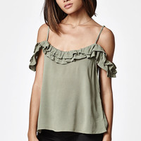 LA Hearts Ruffle Sleeve Cold Shoulder Top at PacSun.com
