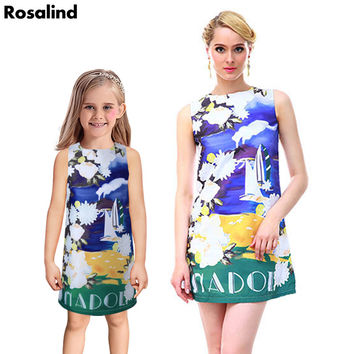 2016 New mother daughter dresses fashion family look matching clothes summer princess dress cotton family clothing kids clothes