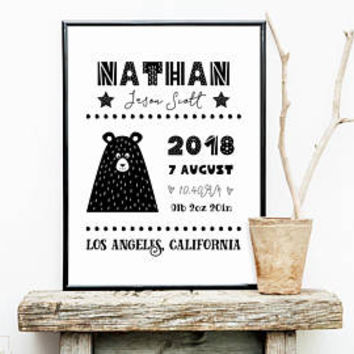 Baby boy birth announcement card / poster, Black and white bear nursery decor, Birth stats wall art printable Personalized new baby boy gift