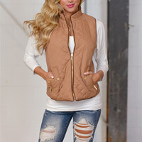 More To Explore Quilted Puffer Vest - Taupe